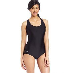 Speedo Black Scoop Neck Open Back Swim Suit D1426